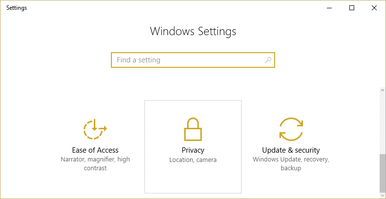 From Windows Settings select Privacy