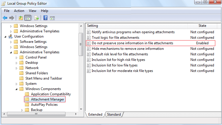 Go to Attachment Manager then click Do not preserve zone information in file attachments