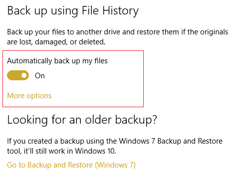 Make sure Automatically backup my file is turned ON