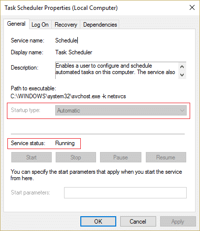 Make sure Start type of Task Scheduler service is set to Automatic and service is running