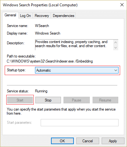Make sure Startup type is set to Automatic and click start for Windows Search Service