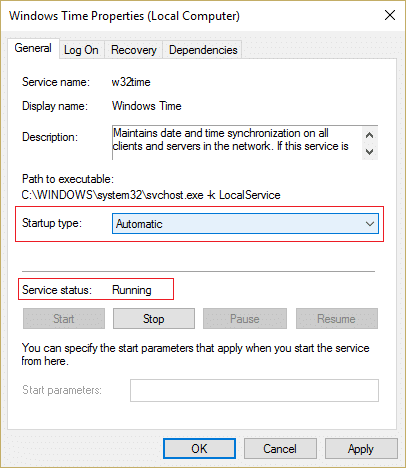 Make sure Startup type of Windows Time Service is Automatic and click Start if service is not running