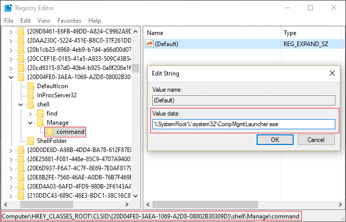 Make sure you have highlighted command key and in the right window pane double click on (Default)