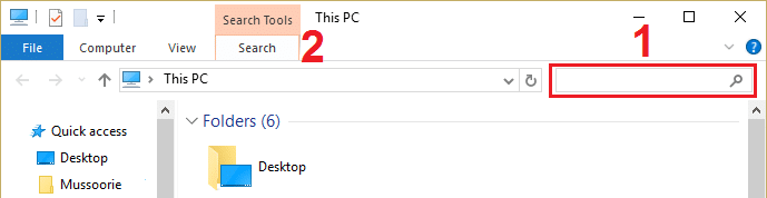 Now click inside the Search This PC field and then click on Search option