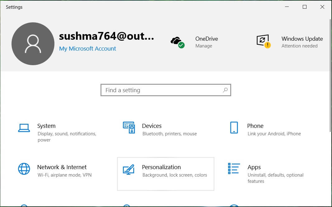 Open the Window Settings and then click on Personalization | Fix Windows 10 Taskbar Not Hiding