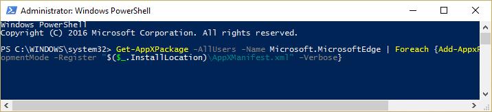Re-install Microsoft Edge