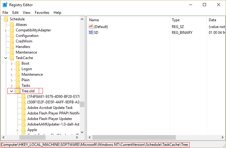 Rename Tree to Tree.old under registry editor and see if the error is resolved or not