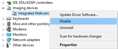 Right-click on Integrated Webcam and select Disable