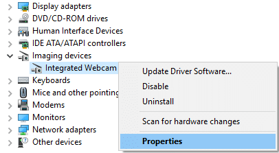 Right-click on Integrated Webcam and select Properties