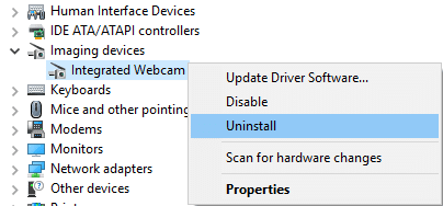 Right-click on Integrated Webcam and select Uninstall