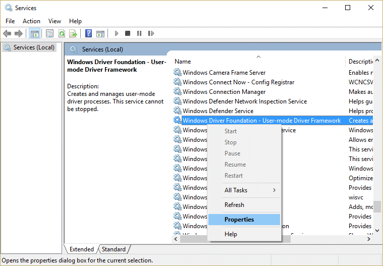 Right click on Windows Driver Foundation - User-mode Driver Framework service and select Properties