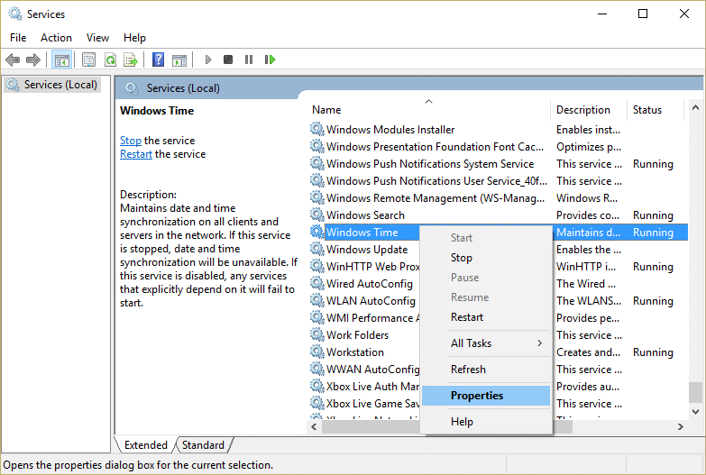 Right-click on Windows Time Service and select Properties
