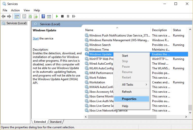 Right click on Windows Update service and select Properties in Service window