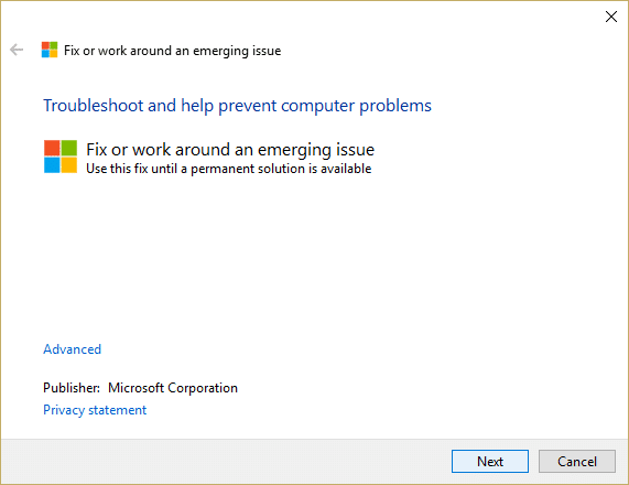 Run Microsoft Troubleshooting Assistant