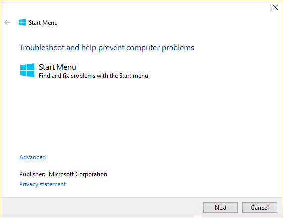 Run Start Menu Troubleshooter | This file does not have a program associated with it for performing this action [SOLVED]