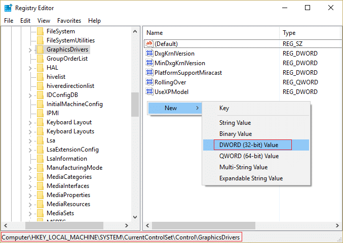 Select DWORD (32bit) Value and type TdrDelay as the name