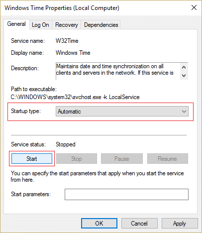 Set the Startup type to Autmatic and click Start
