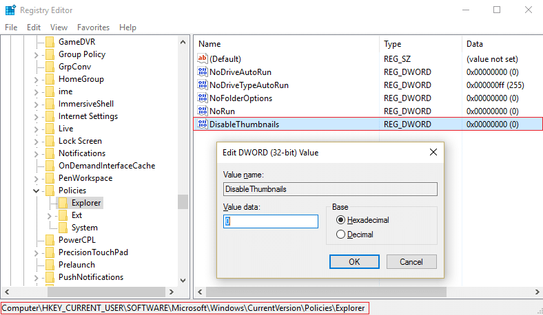 Set value of DisableThumbnails to 0 in HKEY CURRENT USER