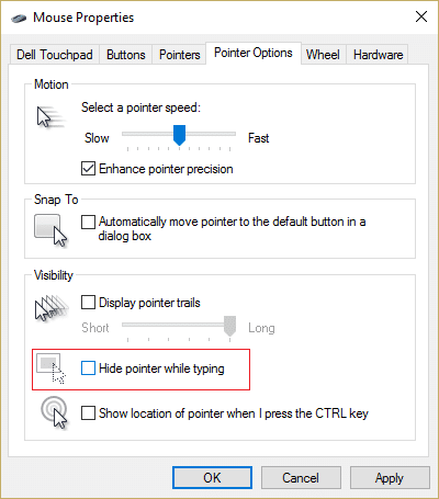 Switch to Pointer Options tab and uncheck Hide pointer while typing