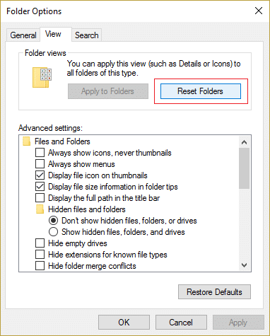 Switch to the View tab and then click Reset Folders