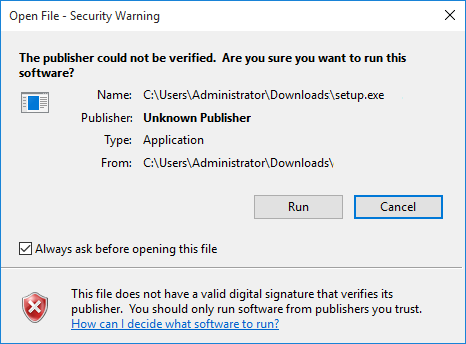 The publisher could not be verified. Are you sure you ant to run this software