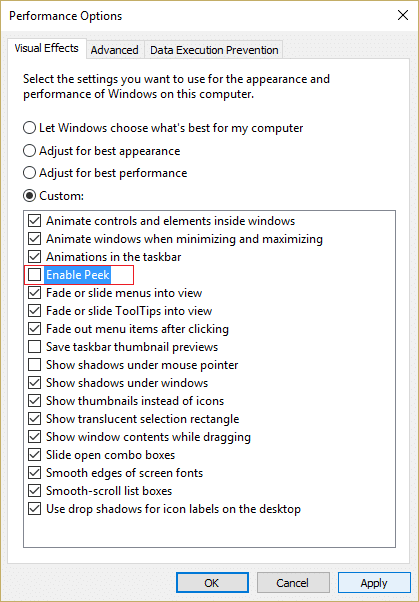 Uncheck Enable Peek in order to Disable Thumbnail Previews | Enable or Disable Thumbnail Previews in Windows 10