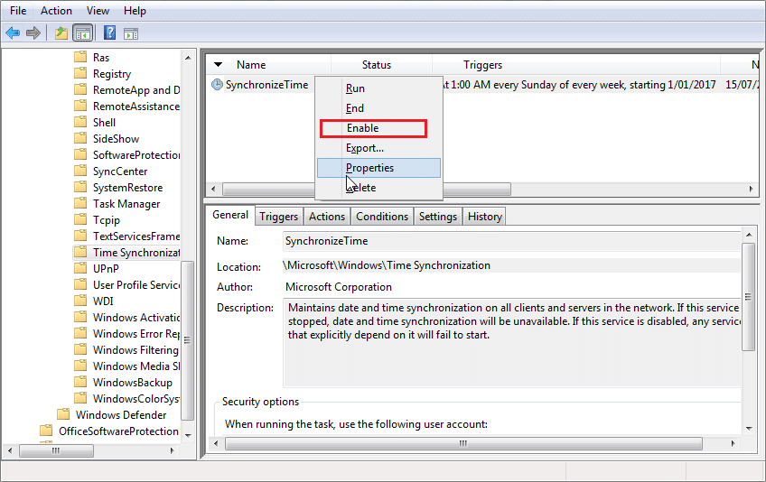 Under Time Synchronization, right-click on Synchronize Time and select Enable