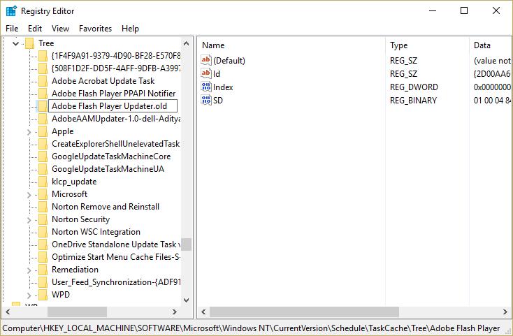 Under Tree registry key rename each key to .old