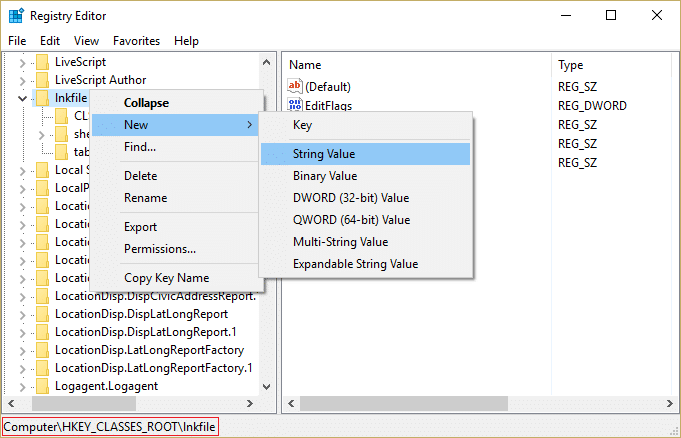 Go to lnkfile in HKEY_CLASSES_ROOT and right-click then select New then String Value