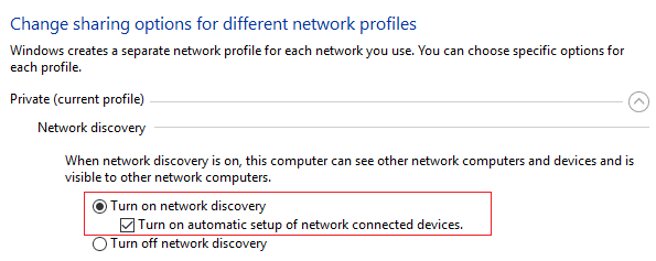 Check mark Turn on network discovery and click Save changes