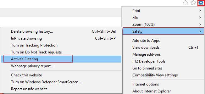 Click gear icon (settings) then select Safety and click on ActiveX Filtering | Fix No Sound on Internet Explorer 11