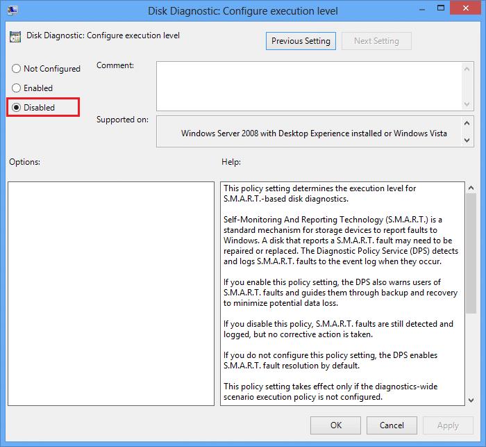 Disable Disk diagnostic configure execution level