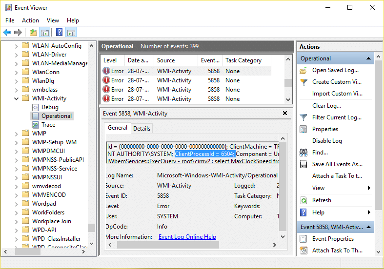 Expand WMI Activity then select Operational and look for ClientProcessId under Error