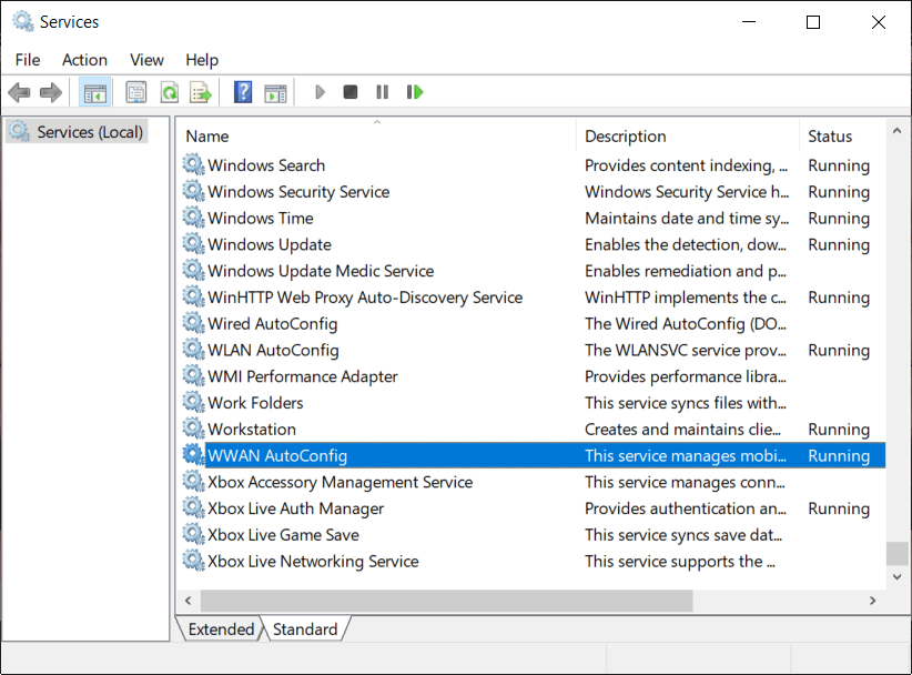 Find WWAN AutoConfig Service in the list (press W to reach to the end of the list quickly)