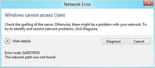 Fix Error code 0x80070035 The network path was not found
