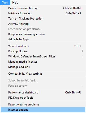 From Internet Explorer menu select Tools then click on Internet options | Fix No Sound on Internet Explorer 11