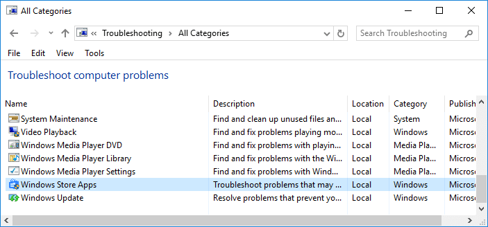 From Troubleshoot computer problems list select Windows Store Apps