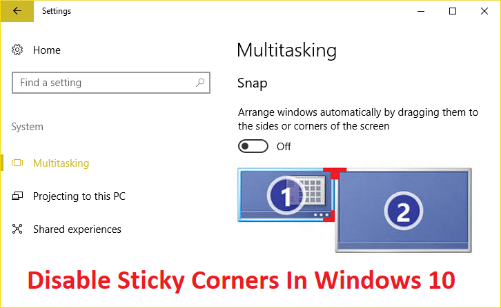 How To Disable Sticky Corners In Windows 10