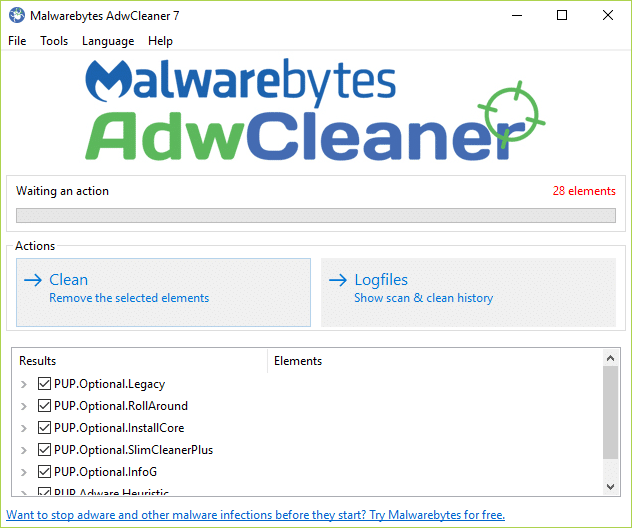 If malicious files are detected then make sure to click Clean