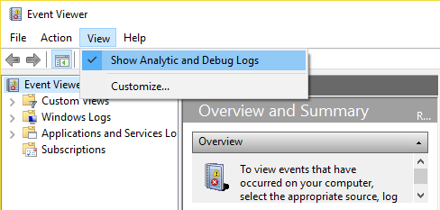 In Event Viewer select View and then click on Show Analytic and Debug Logs