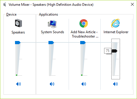 In Volume Mixer panel make sure that the volume level belonging to Internet Explorer is not set to mute