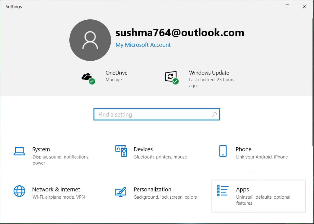 Press Windows Key + I to open Settings then click Apps | How to Disable Skypehost.exe on Windows 10
