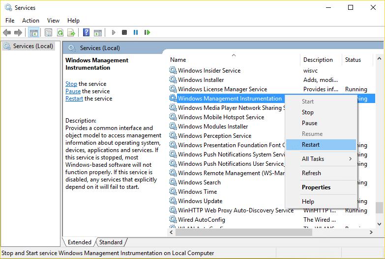 Restart Windows Management Instrumentation Service