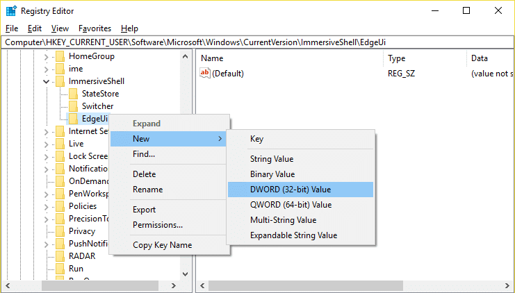 Right-click on EdgeUi then select New then click on DWORD (32-bit) value
