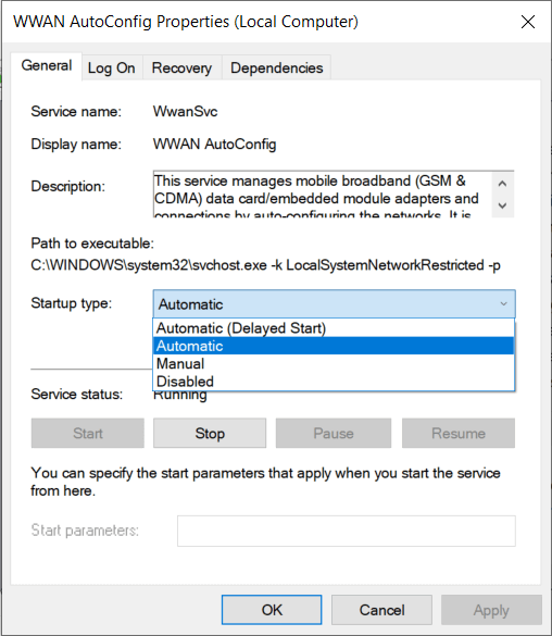 Set the Startup type of WWAN AutoConfig to Automatic