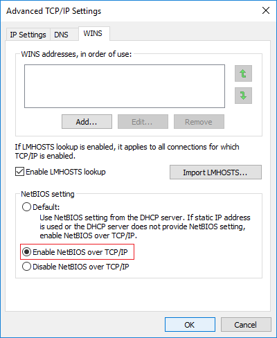 Under NetBIOS setting, check mark Enable NetBIOS over TCP/IP