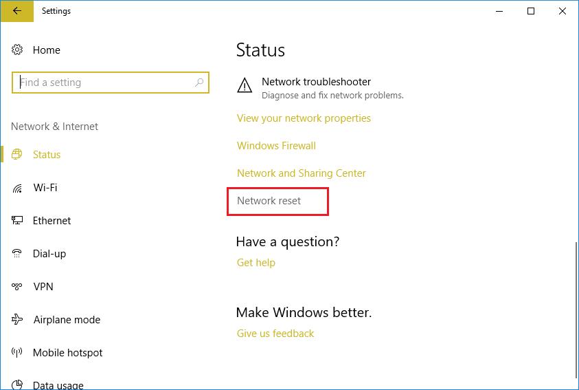 Under Status click Network reset