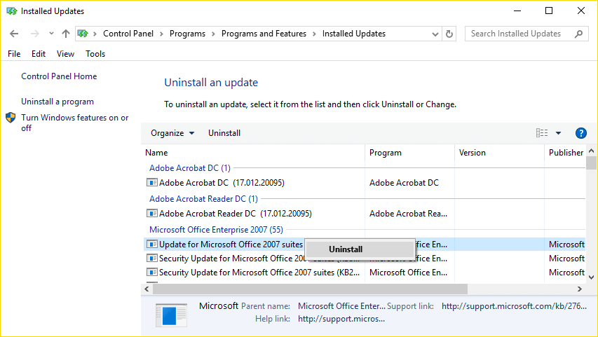 uninstall the particular update in order to fix the issue