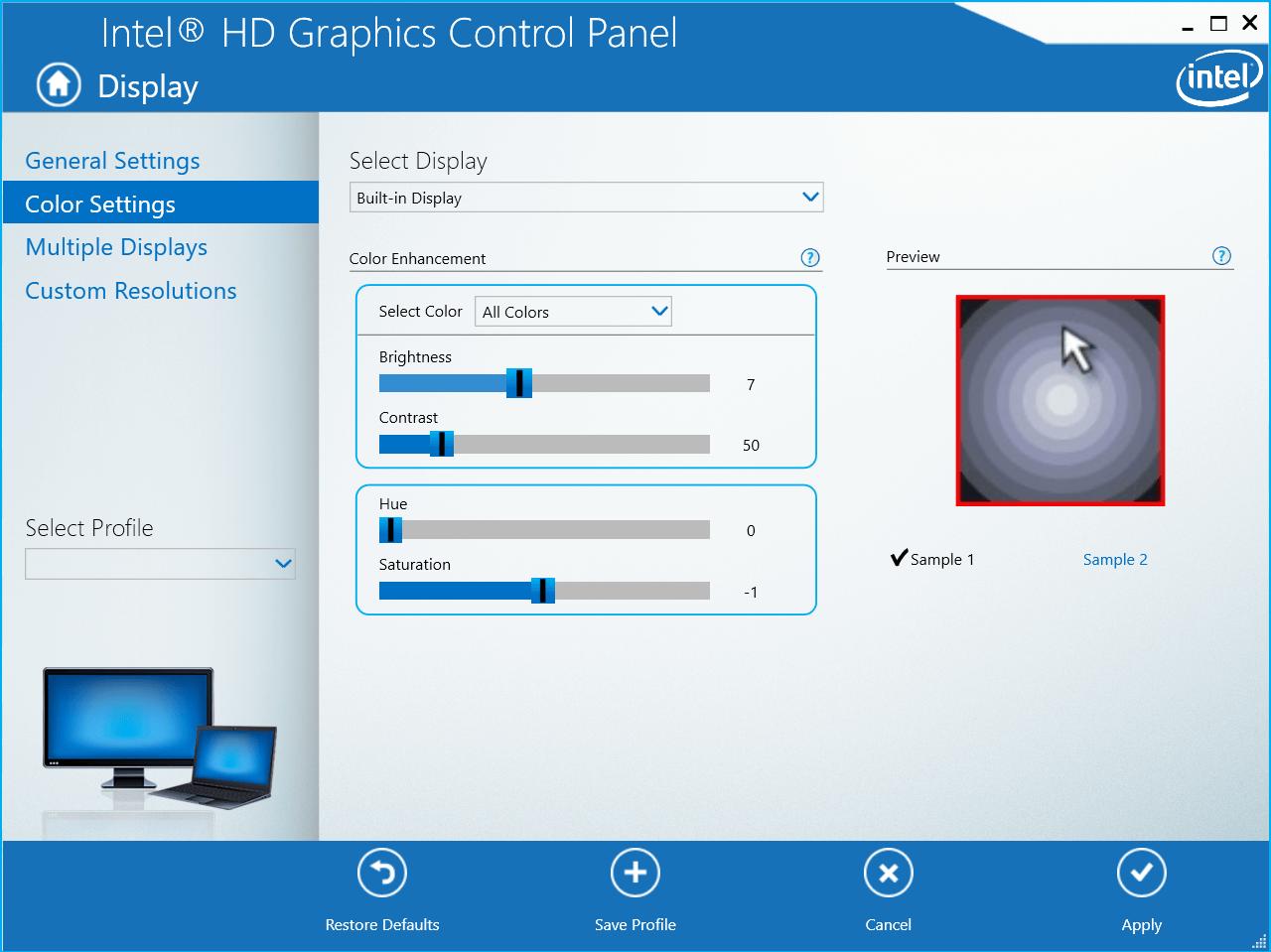 Adjust the Brightness slider under Color Settings then click Apply