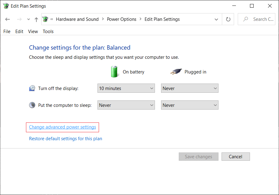 Click Change advanced power settings at the bottom   Fix Can't Adjust Screen Brightness in Windows 10